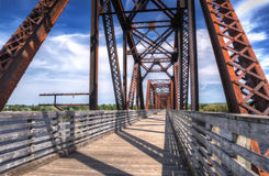 Railroad bridge New Brunswick. An old railroad bridge is converted to a bike trail in Fredericton, New Brunswick, Canada stock images