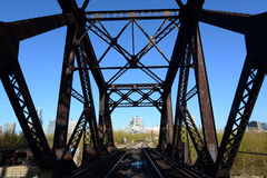 Railroad Bridge. Old railroad bridge in the middle town royalty free stock photos