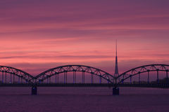 Railroad bridge over Daugava Royalty Free Stock Image