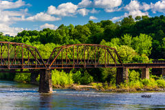 A railroad bridge over the Delaware River in Easton, Pennsylvani Stock Photo