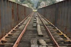 Railroad bridge over the Guadiana Royalty Free Stock Photo