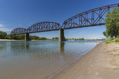 Railroad Bridge Over Missouri River Stock Photos