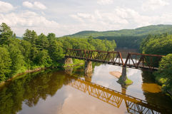 Railroad bridge over river Royalty Free Stock Photos
