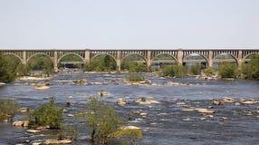 Railroad Bridge Over River stock photos