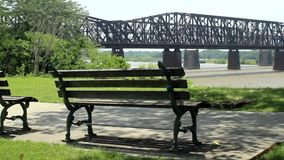 Railroad Bridge Over Them Mississippi River Memphis stock video