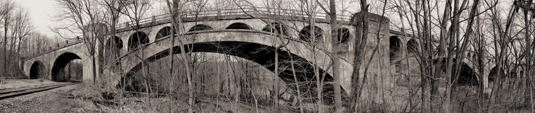 Railroad bridge panorama Stock Photography