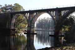 Railroad bridge in Pontevedra royalty free stock image