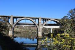 Railroad bridge in Pontevedra royalty free stock photo