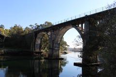 Railroad bridge in Pontevedra stock photography