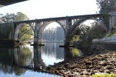 Railroad bridge in Pontevedra royalty free stock photography