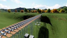 Railroad bridge. Railway tracks stretching Stock Photo