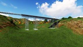Railroad bridge. Railway tracks stretching Stock Images