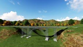 Railroad bridge. Railway tracks stretching Stock Image