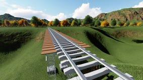 Railroad bridge. Railway tracks stretching Royalty Free Stock Images