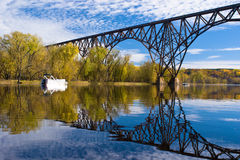 Railroad bridge reflections Royalty Free Stock Image