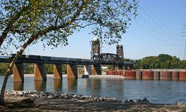 Railroad Bridge & Train Stock Photography