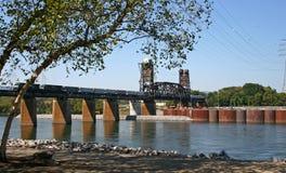 Railroad Bridge & Train Stock Photography