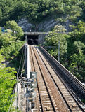Railroad bridge and tunel Stock Photography