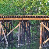 Railroad Bridge Two. Railroad bridge over a canal in a secluded area of a park royalty free stock photography
