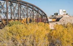Railroad bridge, Yuma, Arizona. Bridges cross the Colorado River at Yuma, Arizona royalty free stock photos