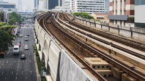 Railroad of BTS sky train. Railway road of BTS sky train in Thailand royalty free stock image