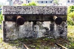 Railroad bumper stops stock photo