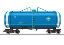 Railroad car with gas. Gas Tank. A railroad car with a gas. Isolated vector illustration Royalty Free Stock Photography