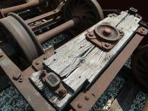 Railroad car parts. Vintage railroad car parts on the rail line stock image