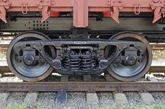 Railroad car wheels close-up Stock Images