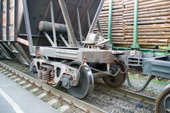 Railroad car wheels on rails closeup. View Royalty Free Stock Images