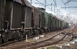 Railroad with cargo train Stock Photo
