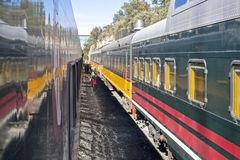 Railroad cars in a Copper Canyon station. Railroad passenger cars in the Copper Canyon, Chihuahua, Mexico Stock Photos