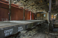 Railroad cars in shed Stock Photos