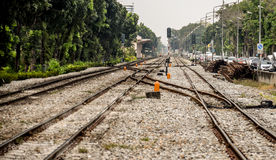 Railroad in the center of Bangkok stock photography