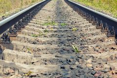 Railroad close up in summer day.  Stock Images