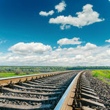 Railroad closeup to cloudy horizon Stock Photography
