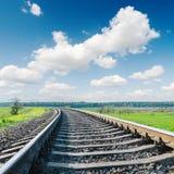 Railroad closeup to horizon and blue sky Royalty Free Stock Photos