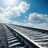 Railroad closeup to horizon in sky Royalty Free Stock Photo