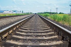Railroad closeup to horizon Stock Images