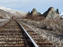 Railroad in Columbia river valley, WA royalty free stock images