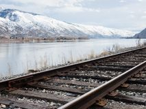 Railroad in Columbia river valley, WA stock images