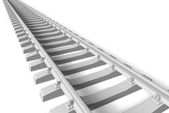 Railroad concept. Endless railroad track isolated over white background Royalty Free Stock Image