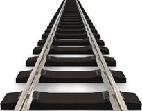 Railroad concept. Endless railroad track isolated over white background Stock Photography