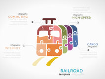 Railroad. Concept infographic template with train made out of puzzle pieces vector illustration