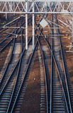 Railroad and the construction of electric traction Stock Image