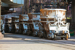 Railroad containers for liquid metal. At the metallurgical plant stock images