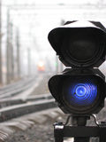 Railroad control light. S and train Stock Photography