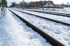 Railroad covered with snow Stock Image