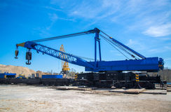 Railroad Crane in port. Russian 150 tonne Railroad Crane in Tolyatty port Stock Photos