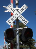 Railroad Crossing. Rail Road Crossing Sign at Grand Canyon Stock Image